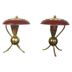 Pair of Red Enamel and Brass Tripod Table Lamp, French, 1950s