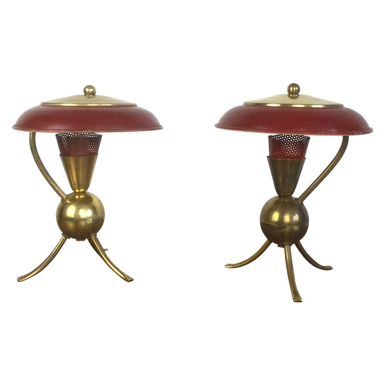 Pair of Red Enamel and Brass Tripod Table Lamp, French, 1950s For Sale