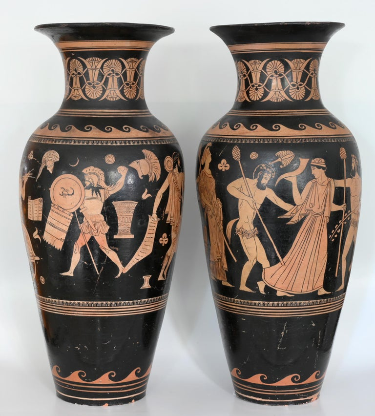 Pair of red-figure black-ground vases, 1810-1850, Italy, Terracotta, Grand Tour  Pair of red-figure black-ground vases circa 1810-1850 from Italy probably Naples or Sicilia. One vase shows Zeus, with his flashes in the hand, in a chariot.