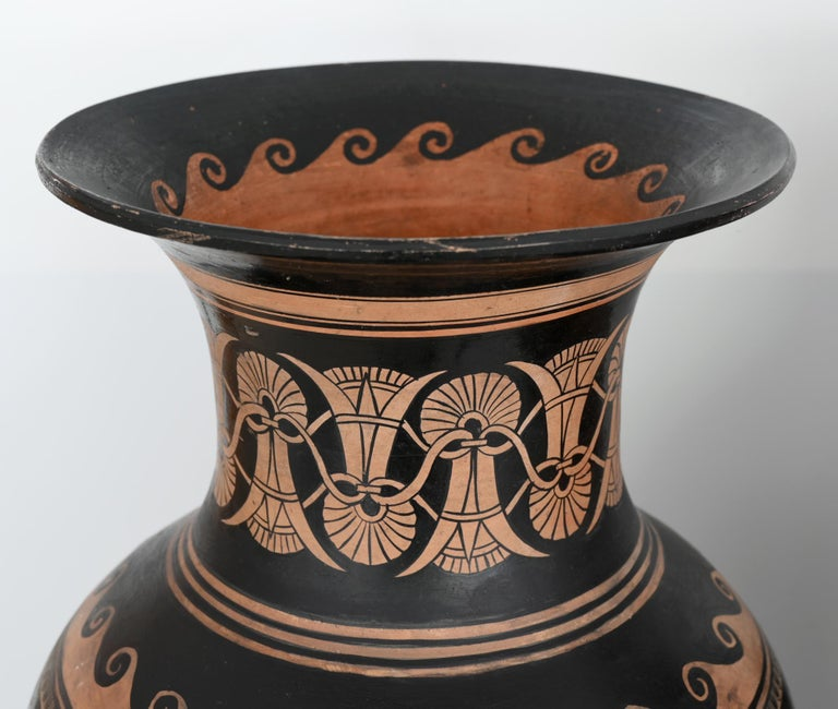 Italian Pair of Red-Figure Black-Ground Vases, 1810-1850, Italy, Terracotta, Grand Tour For Sale