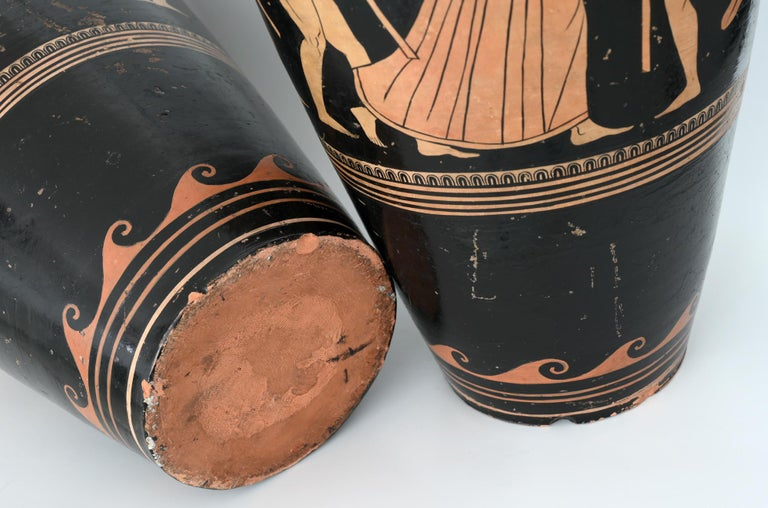 Pair of Red-Figure Black-Ground Vases, 1810-1850, Italy, Terracotta, Grand Tour For Sale 1