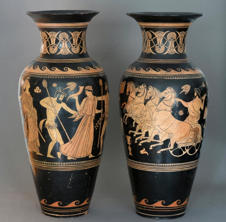 Pair of Red-Figure Black-Ground Vases, 1810-1850, Italy, Terracotta, Grand Tour For Sale 2