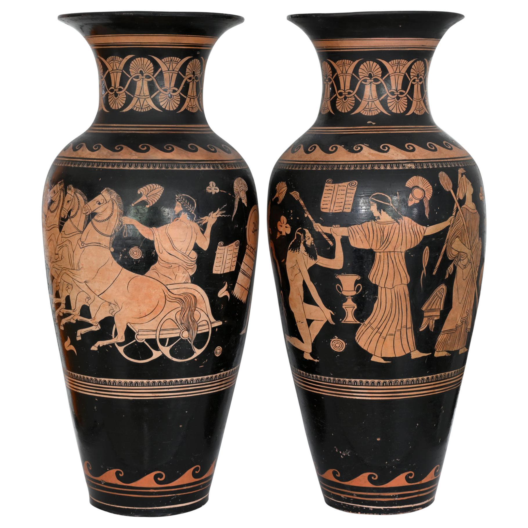 Pair of Red-Figure Black-Ground Vases, 1810-1850, Italy, Terracotta, Grand Tour