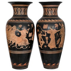 Pair of Red-Figure Black-Round Vases, 1810-1850, Italy, Terracotta, Grand Tour