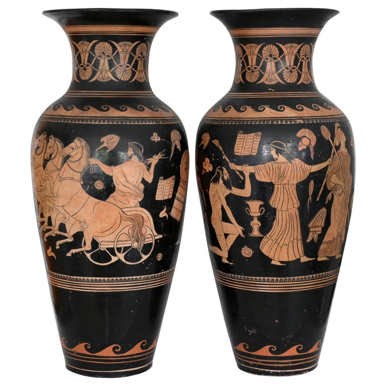 Pair of Red-Figure Black-Ground Vases, 1810-1850, Italy, Terracotta, Grand Tour For Sale