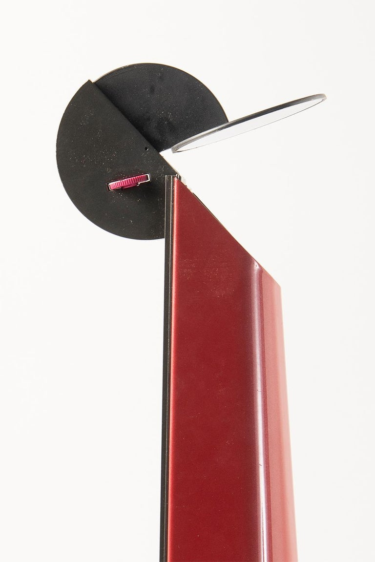 Pair of Red Gibigiana Lamps by Achille Castiglioni for Flos For Sale 4