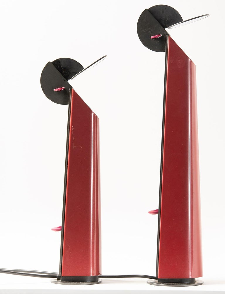 Mid-Century Modern Pair of Red Gibigiana Lamps by Achille Castiglioni for Flos For Sale