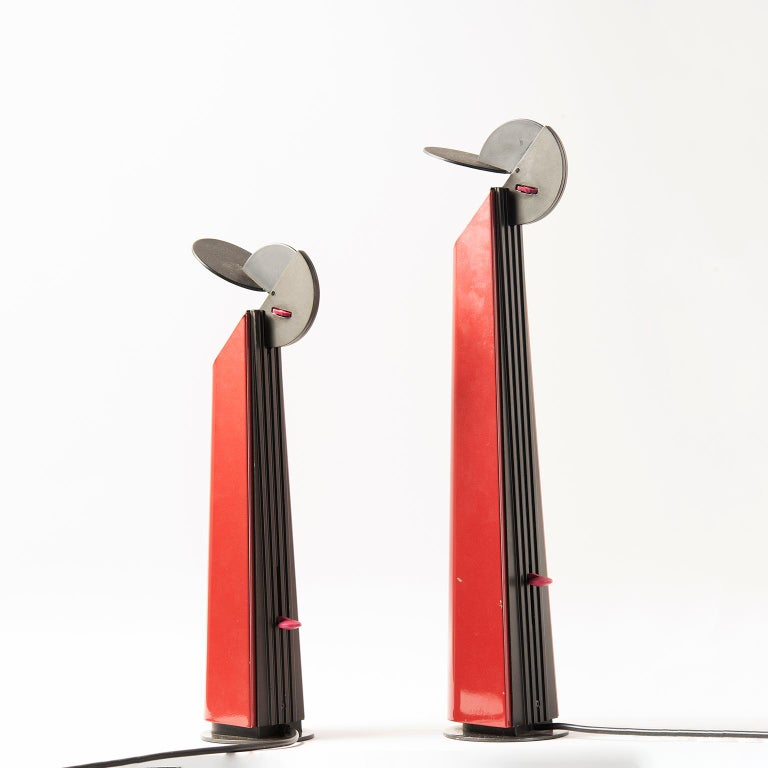 Italian Pair of Red Gibigiana Lamps by Achille Castiglioni for Flos For Sale