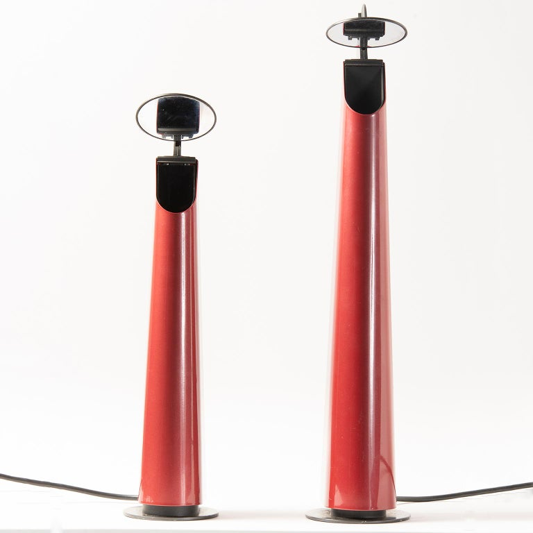 Pair of Red Gibigiana Lamps by Achille Castiglioni for Flos In Good Condition For Sale In Troy, MI