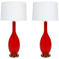 Pair of Red Glass Vintage Lamps with Brass Base