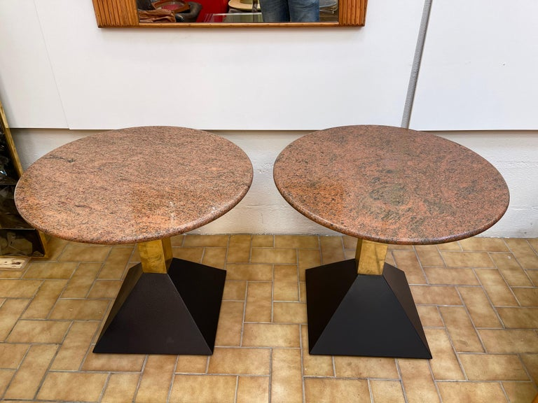 Late 20th Century Pair of Red Granite and Brass Side Tables, Italy, 1980s For Sale