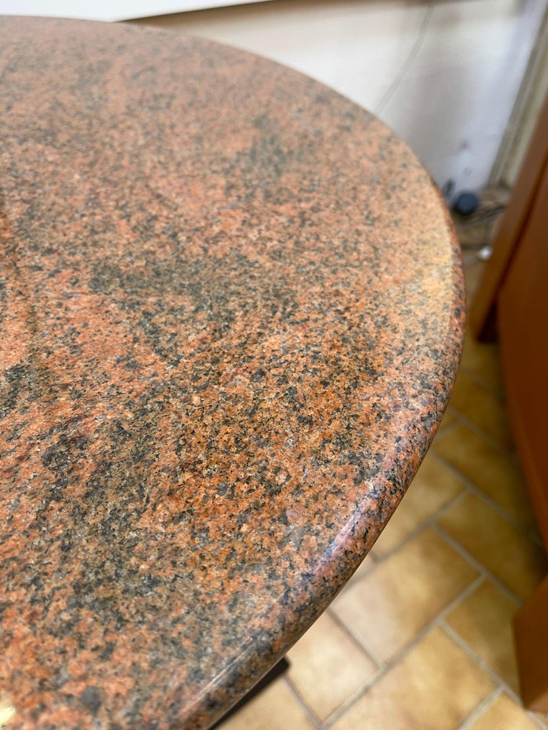 Metal Pair of Red Granite and Brass Side Tables, Italy, 1980s For Sale
