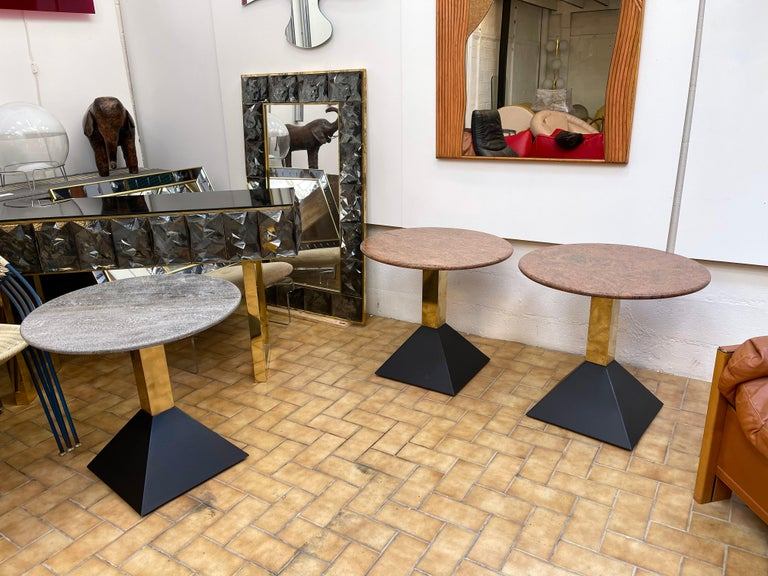 Pair of Red Granite and Brass Side Tables, Italy, 1980s For Sale 2