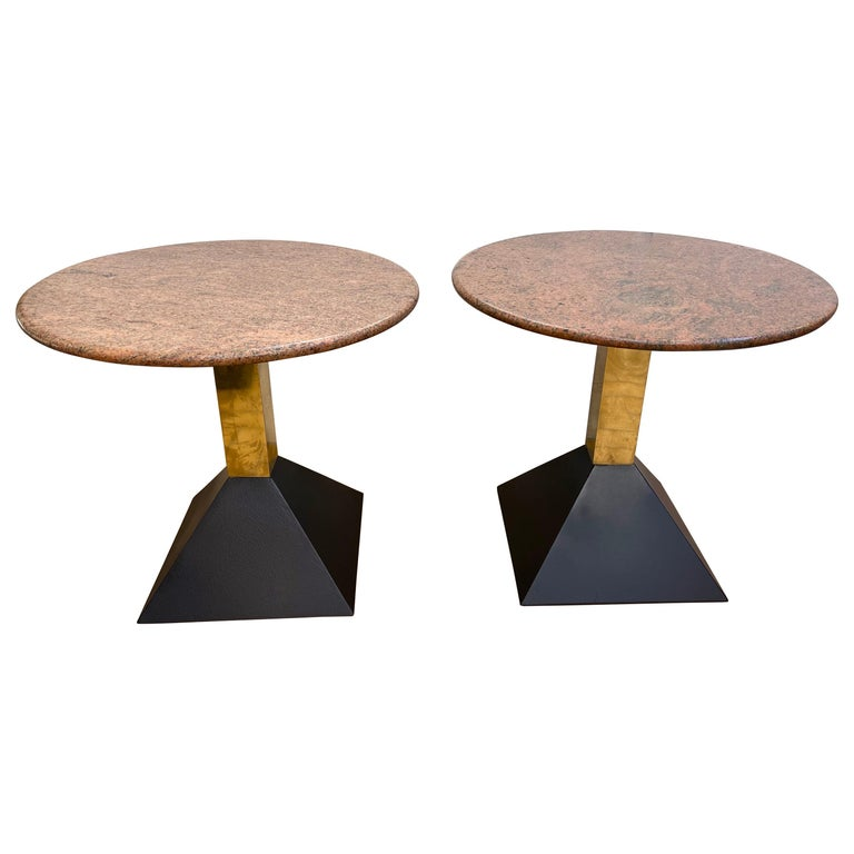 Pair of Red Granite and Brass Side Tables, Italy, 1980s For Sale