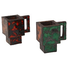 Pair of Red & Green Enameled Copper Mugs by Kwangho Lee