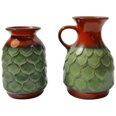 Pair of Red / Green Fat Lava Pottery Vases by Jasba, West Germany 1960s