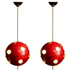Pair of Red Hanging Light by Oscar Torlasco for Lumi