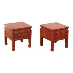 Pair of Red Lacquer Low Tables
