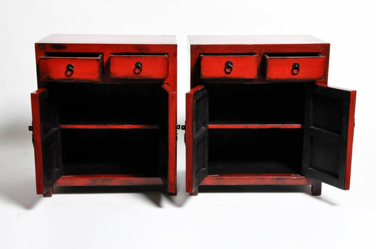 Pair of Red Lacquered Chinese Side Chests with Two Drawers and a Shelf For Sale 5