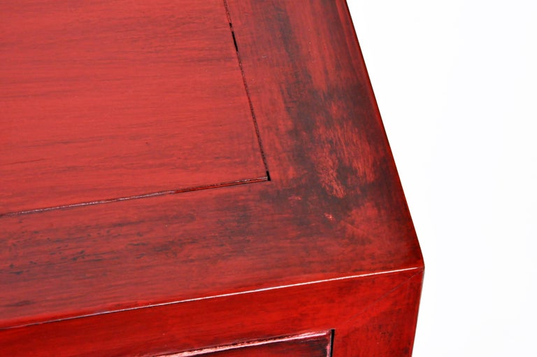 Pair of Red Lacquered Chinese Side Chests with Two Drawers and a Shelf For Sale 6