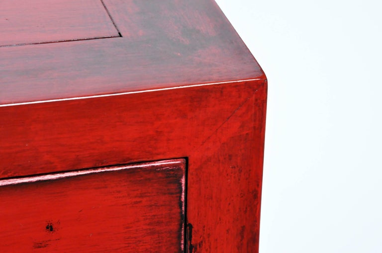 Pair of Red Lacquered Chinese Side Chests with Two Drawers and a Shelf For Sale 7