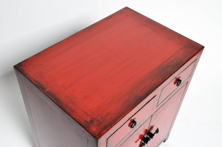 Pair of Red Lacquered Chinese Side Chests with Two Drawers and a Shelf For Sale 11