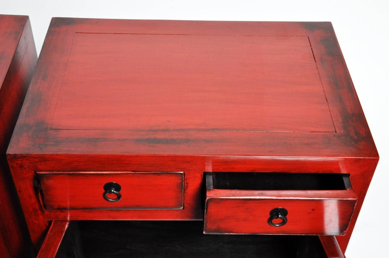 Pair of Red Lacquered Chinese Side Chests with Two Drawers and a Shelf For Sale 12