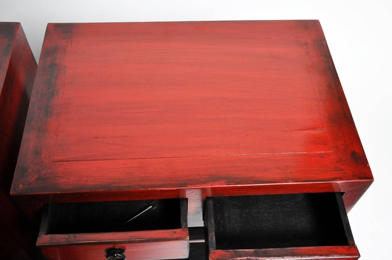 Pair of Red Lacquered Chinese Side Chests with Two Drawers and a Shelf For Sale 13