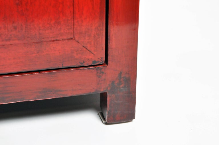 Pair of Red Lacquered Chinese Side Chests with Two Drawers and a Shelf For Sale 15
