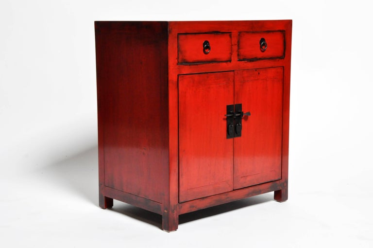 Contemporary Pair of Red Lacquered Chinese Side Chests with Two Drawers and a Shelf For Sale