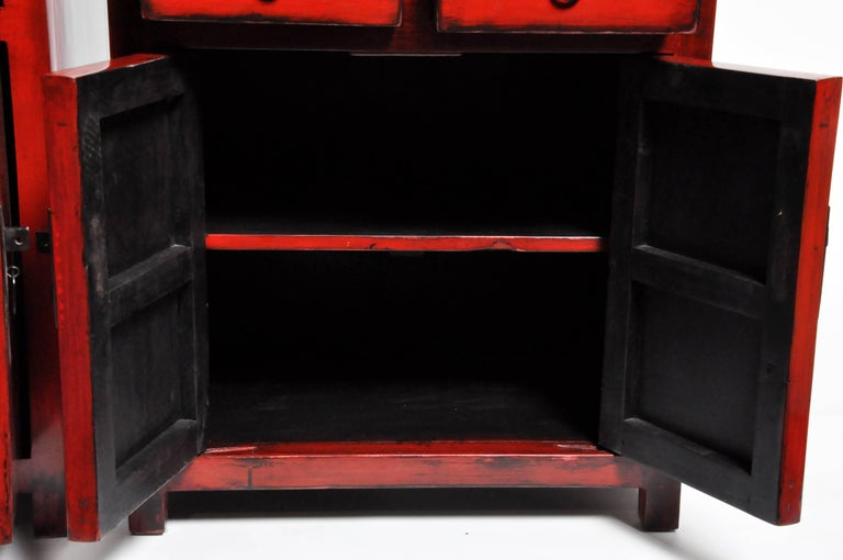 Pair of Red Lacquered Chinese Side Chests with Two Drawers and a Shelf For Sale 2