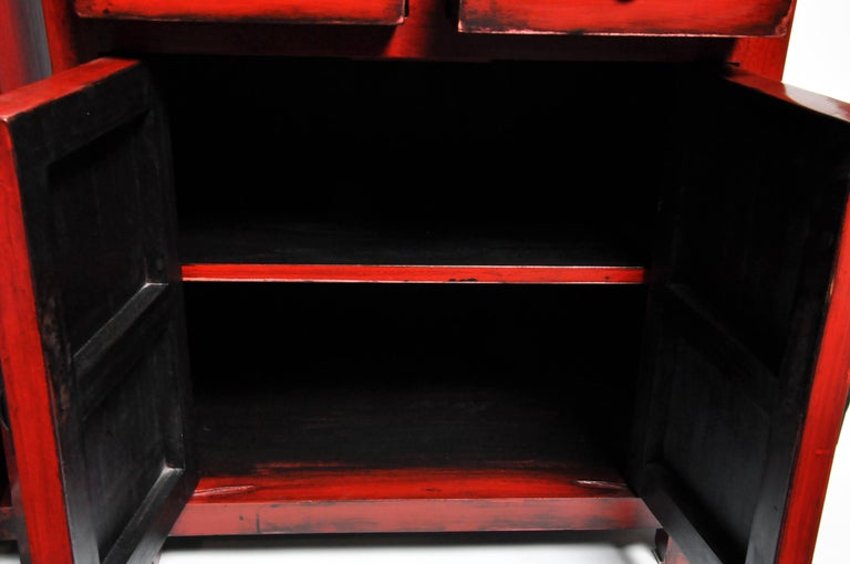 Pair of Red Lacquered Chinese Side Chests with Two Drawers and a Shelf For Sale 3