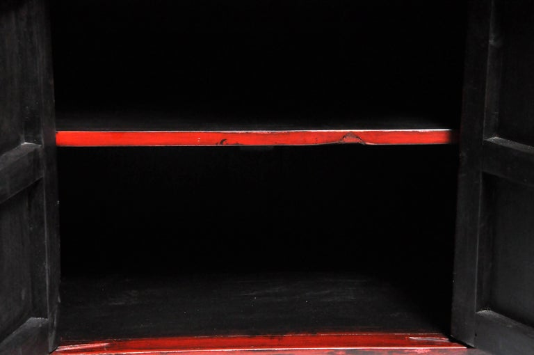 Pair of Red Lacquered Chinese Side Chests with Two Drawers and a Shelf For Sale 4