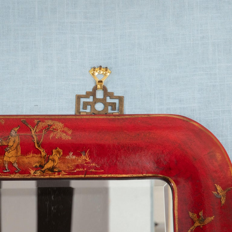 Unknown Pair of Red Lacquered Chinoiserie Mirrors For Sale