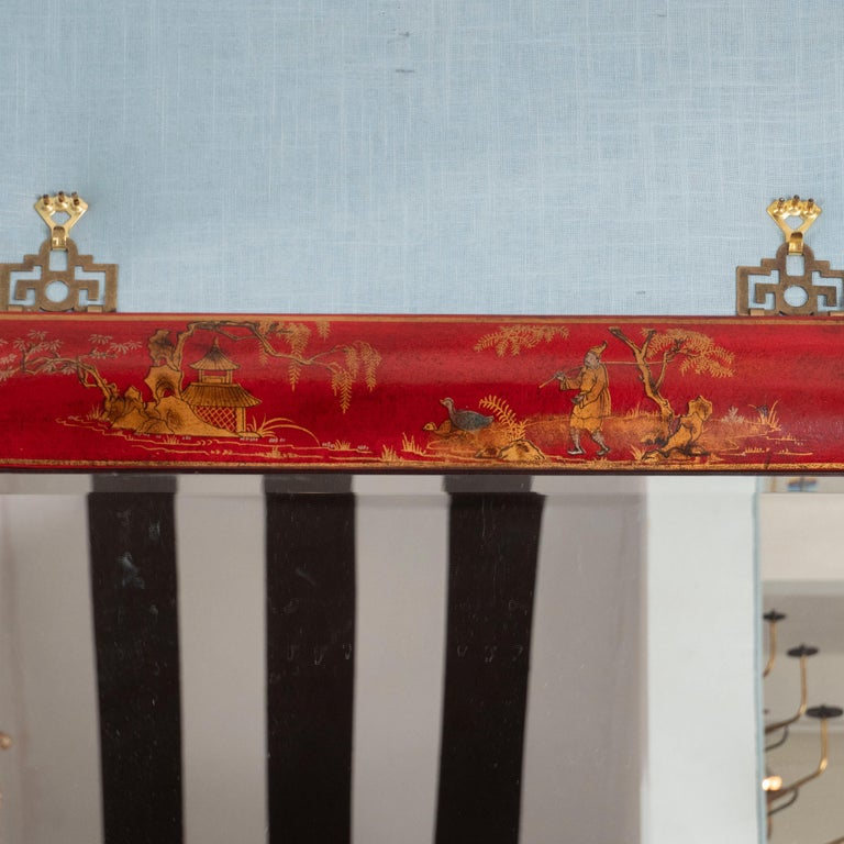 Pair of Red Lacquered Chinoiserie Mirrors In Excellent Condition For Sale In New York, NY