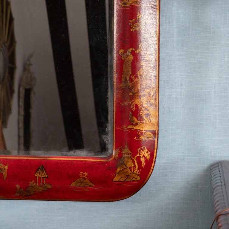 Pair of Red Lacquered Chinoiserie Mirrors For Sale 1