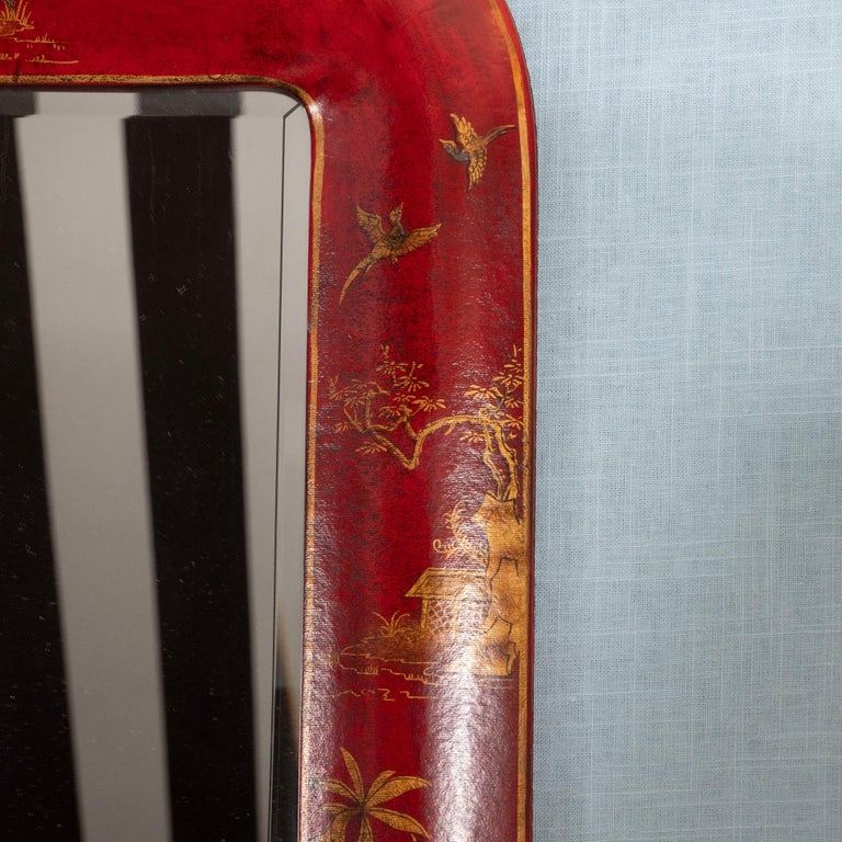 Pair of Red Lacquered Chinoiserie Mirrors For Sale 3