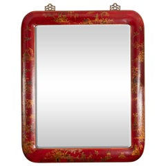 Pair of Red Lacquered Chinoiserie Mirrors
