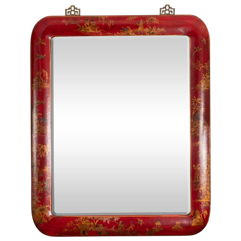 Pair of Red Lacquered Chinoiserie Mirrors For Sale