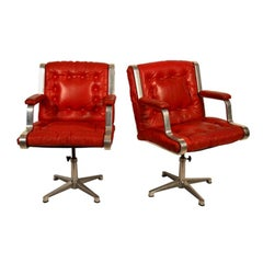 Pair of Red Leather Midcentury Desk Swivel Chairs