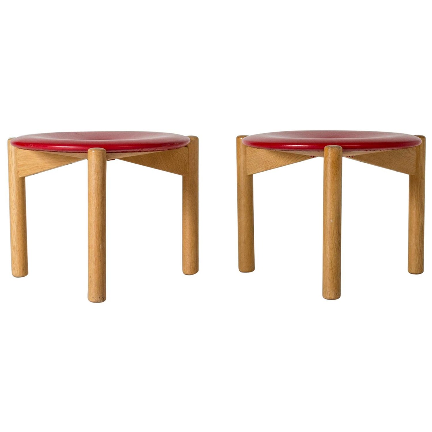 Enjoyable Pair Of Red Leather Stools By Uno And Osten Kristiansson Inzonedesignstudio Interior Chair Design Inzonedesignstudiocom
