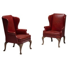 Pair of Red Leather Wing Chairs, England, circa 1950
