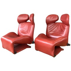 Pair of Toshiyuki Kita for Cassina Wink Convertible Leather Lounge Chairs