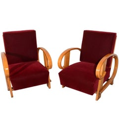 Pair of Red Lounge Chairs in Donghia Mohair