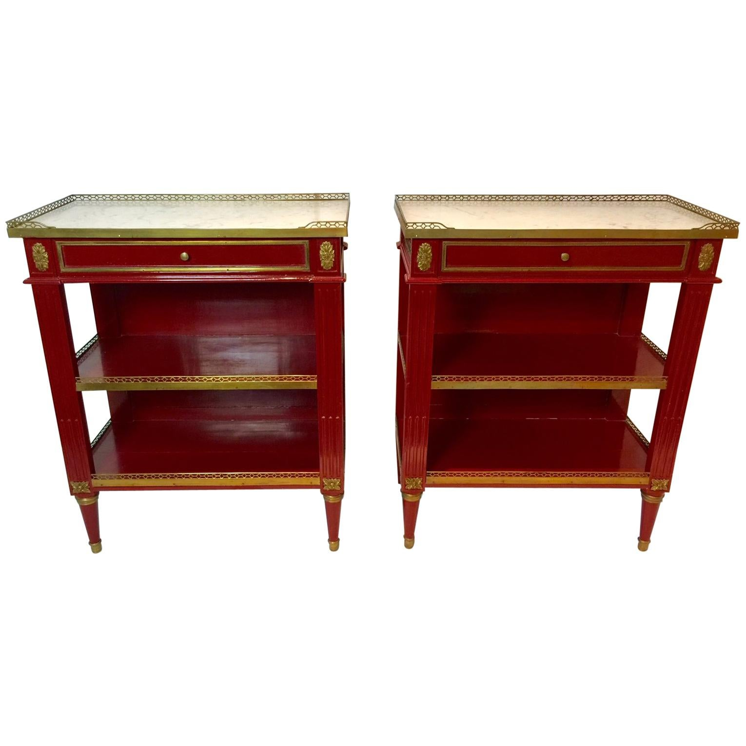 Maison Jansen Pair of Red Marble-Top Side Tables