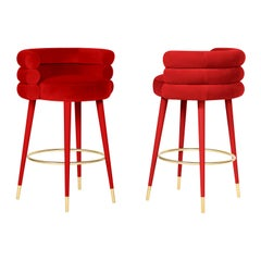 Pair of Red Marshmallow Bar Stool, Royal Stranger