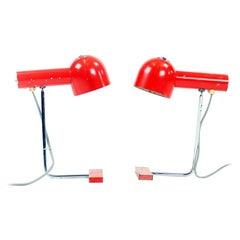 Pair of Red Metal and Chrome Table Lamps by Josef Hurka for Napako, circa 1960
