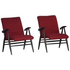 "Pair of Red Midcentury Lounge Chairs Model ""2468"" Ilmari Tapiovaara, Finland"