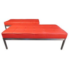 Pair of Red Mid-Century Modern Ottomans