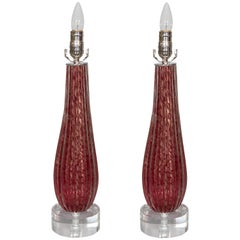 Pair of Red Murano Glass Lamps